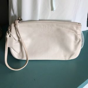 Coach Off white leather wristlet clutch